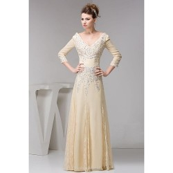 A-line Petite Mother of the Bride Dress - Champagne Floor-length 3/4 Length Sleeve Chiffon / Lace