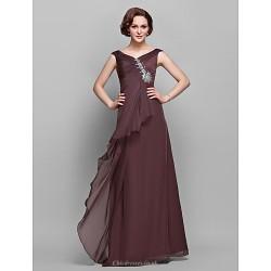 A-line Plus Sizes / Petite Mother of the Bride Dress - Chocolate Floor-length Sleeveless Chiffon