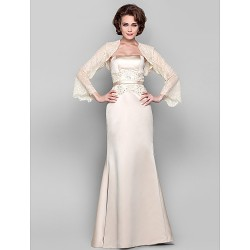 Dress - Ivory Plus Sizes / Petite Sheath/Column Strapless Floor-length Tulle / Stretch Satin
