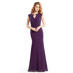 Trumpet Mermaid Mother Of The Bride Dress Grape Floor Length Sleeveless Chiffon