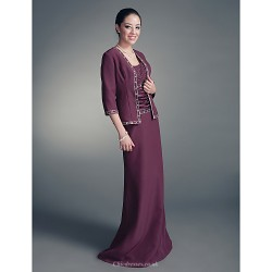 Sheath/Column Plus Sizes / Petite Mother of the Bride Dress - Grape Floor-length 3/4 Length Sleeve Chiffon