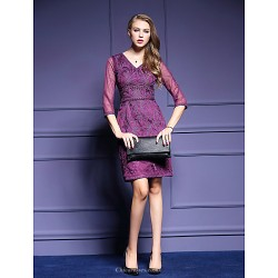 Sheath Column Mother Of The Bride Dress Fuchsia Royal Blue Silver Knee Length 3 4 Length Sleeve Tulle Polyester