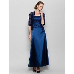 Sheath Column Mother Of The Bride Dress Dark Navy Ankle Length 3 4 Length Sleeve Charmeuse
