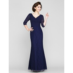 Trumpet Mermaid Mother Of The Bride Dress Dark Navy Ankle Length 3 4 Length Sleeve Chiffon Lace