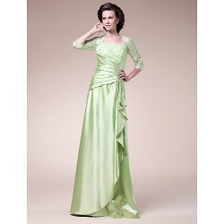A-line Plus Sizes / Petite Mother of the Bride Dress - Sage Floor-length Half Sleeve Stretch Satin / Lace