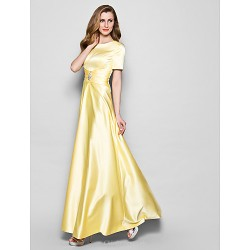 A Line Plus Sizes Petite Mother Of The Bride Dress Daffodil Floor Length Short Sleeve Satin