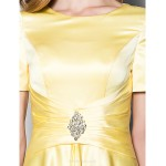 A-line Plus Sizes / Petite Mother of the Bride Dress - Daffodil Floor-length Short Sleeve Satin Mother Of The Bride Dresses