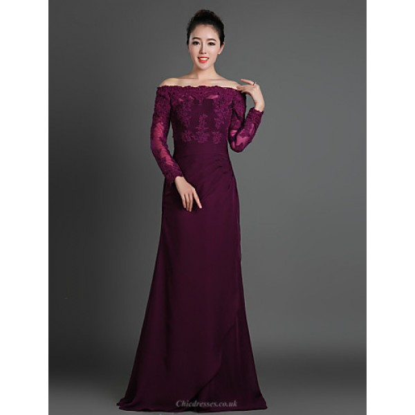 Sheath/Column Mother of the Bride Dress - Grape Floor-length Chiffon / Tulle Mother Of The Bride Dresses