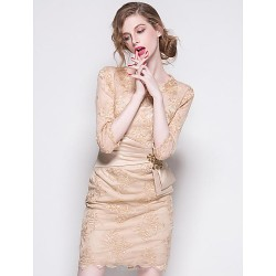 Sheath Column Mother Of The Bride Dress Champagne Black Short Mini 3 4 Length Sleeve Polyester