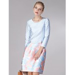Sheath/Column Mother of the Bride Dress - Print Knee-length Long Sleeve Polyester Mother Of The Bride Dresses