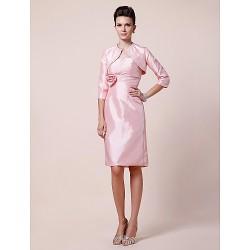 Sheath Column Plus Sizes Petite Mother Of The Bride Dress Blushing Pink Knee Length 3 4 Length Sleeve Taffeta