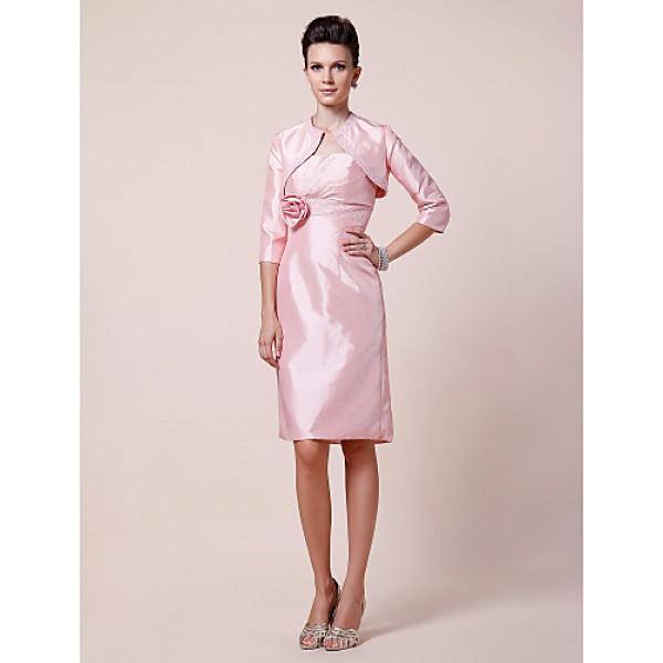 Sheath/Column Plus Sizes / Petite Mother of the Bride Dress - Blushing Pink Knee-length 3/4 Length Sleeve Taffeta Mother Of The Bride Dresses