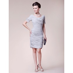 Sheath Column Plus Sizes Petite Mother Of The Bride Dress Silver Knee Length Short Sleeve Chiffon