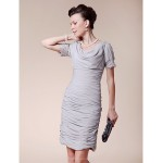 Sheath/Column Plus Sizes / Petite Mother of the Bride Dress - Silver Knee-length Short Sleeve Chiffon Mother Of The Bride Dresses