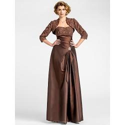 A Line Plus Sizes Petite Mother Of The Bride Dress Chocolate Floor Length 3 4 Length Sleeve Taffeta Lace