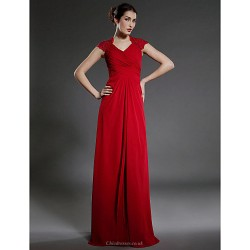 Sheath Column Plus Sizes Petite Mother Of The Bride Dress Ruby Floor Length Sleeveless Chiffon