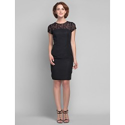 Sheath/Column Plus Sizes / Petite Mother of the Bride Dress - Black Knee-length Short Sleeve Chiffon / Lace