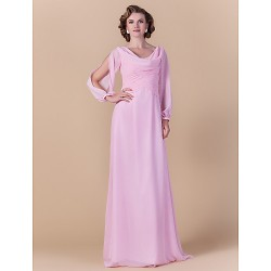 Sheath Column Plus Sizes Petite Mother Of The Bride Dress Blushing Pink Floor Length Long Sleeve Chiffon