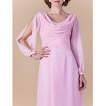 Sheath/Column Plus Sizes / Petite Mother of the Bride Dress - Blushing Pink Floor-length Long Sleeve Chiffon Mother Of The Bride Dresses