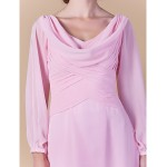 Sheath/Column Plus Sizes / Petite Mother of the Bride Dress - Blushing Pink Floor-length Long Sleeve Chiffon Mother Of The Bride Dresses