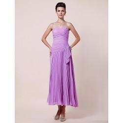 A Line Plus Sizes Petite Mother Of The Bride Dress Lilac Tea Length Sleeveless Chiffon