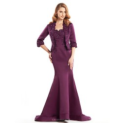 Trumpet/Mermaid Mother of the Bride Dress - Grape Sweep/Brush Train Half Sleeve Satin