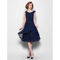 A Line Plus Sizes Petite Mother Of The Bride Dress Dark Navy Knee Length Sleeveless Chiffon