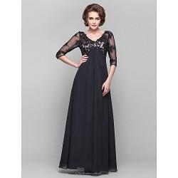 Dress Black Plus Sizes Petite A Line V Neck Floor Length Chiffon Lace
