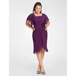 Cocktail Party Dress Grape Plus Sizes Petite Sheath Column Square Knee Length Chiffon