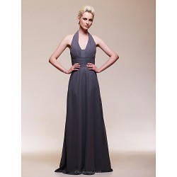 Formal Evening / Wedding Party Dress - Silver Plus Sizes / Petite Sheath/Column V-neck Floor-length Chiffon