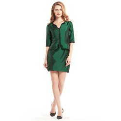 Sheath/Column Mother of the Bride Dress - Dark Green Short/Mini Half Sleeve Taffeta