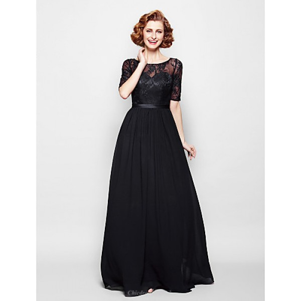 A-line Plus Sizes / Petite Mother of the Bride Dress - Black Floor-length Half Sleeve Chiffon / Lace Mother Of The Bride Dresses