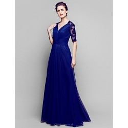 A Line Plus Sizes Petite Mother Of The Bride Dress Dark Navy Floor Length Half Sleeve Lace Tulle