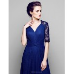 A-line Plus Sizes / Petite Mother of the Bride Dress - Dark Navy Floor-length Half Sleeve Lace / Tulle Mother Of The Bride Dresses