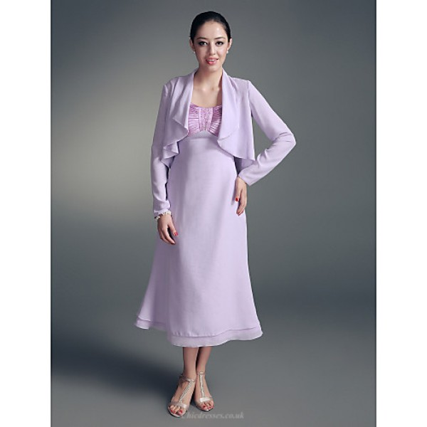 A-line Plus Sizes / Petite Mother of the Bride Dress - Lilac Tea-length Long Sleeve Chiffon / Stretch Satin Mother Of The Bride Dresses