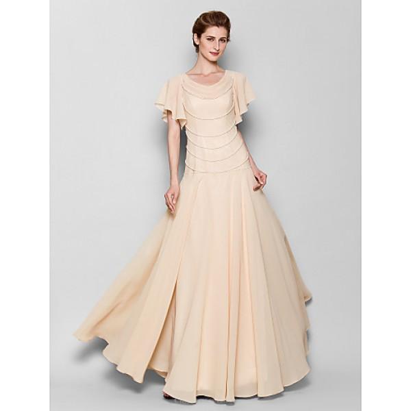 Sheath/Column Plus Sizes / Petite Mother of the Bride Dress - Pearl Pink Floor-length Short Sleeve Chiffon Mother Of The Bride Dresses