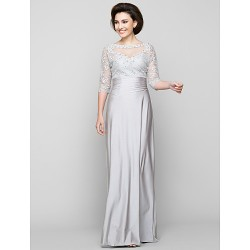 Sheath Column Mother Of The Bride Dress Silver Ankle Length Half Sleeve Tulle Charmeuse
