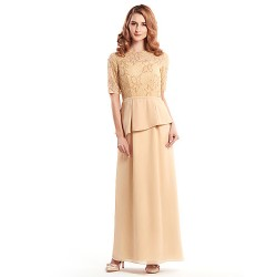 Sheath/Column Mother of the Bride Dress - Champagne Ankle-length Half Sleeve Chiffon / Lace