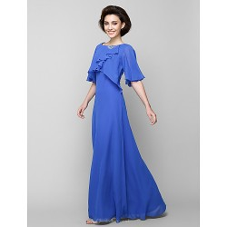 A Line Mother Of The Bride Dress Royal Blue Floor Length Half Sleeve Chiffon