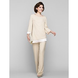 Sheath Column Mother Of The Bride Dress Champagne Ankle Length Long Sleeve Chiffon