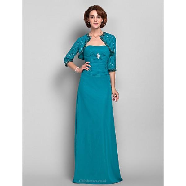 Sheath/Column Plus Sizes / Petite Mother of the Bride Dress - Jade Floor-length 3/4 Length Sleeve Chiffon Mother Of The Bride Dresses