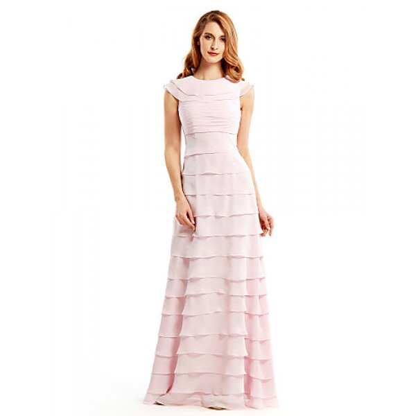 Sheath/Column Mother of the Bride Dress - Blushing Pink Floor-length Sleeveless Chiffon Mother Of The Bride Dresses