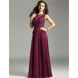 Sheath/Column Mother of the Bride Dress - Grape Floor-length Chiffon / Lace