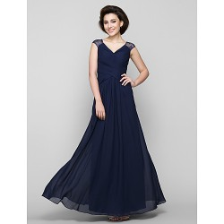 A Line Mother Of The Bride Dress Dark Navy Ankle Length Sleeveless Chiffon Lace