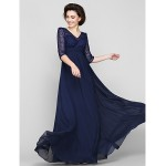 A-line Mother of the Bride Dress - Dark Navy Ankle-length Half Sleeve Chiffon / Lace Mother Of The Bride Dresses