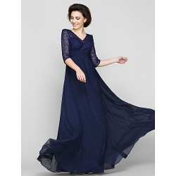 A-line Mother of the Bride Dress - Dark Navy Ankle-length Half Sleeve Chiffon / Lace