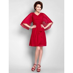 Sheath/Column Plus Sizes / Petite Mother of the Bride Dress - Ruby Knee-length 3/4 Length Sleeve Chiffon