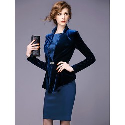 Sheath Column Mother Of The Bride Dress Dark Navy Knee Length Long Sleeve Polyester