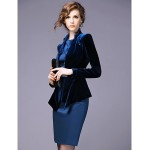 Sheath/Column Mother of the Bride Dress - Dark Navy Knee-length Long Sleeve Polyester Mother Of The Bride Dresses