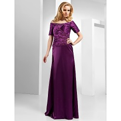 Formal Evening Dress Grape Plus Sizes Petite Sheath Column Off The Shoulder Floor Length Satin